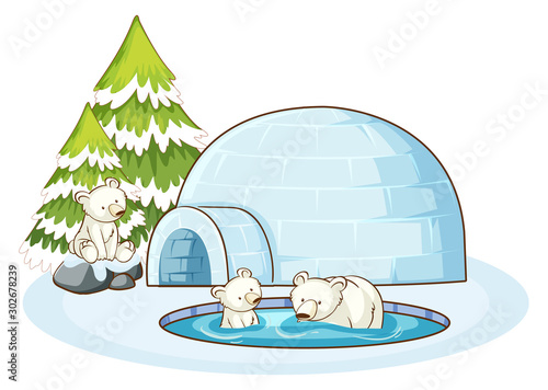 Poster Jeunes enfants Polar bears and igloo in the snow