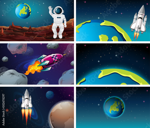 Poster Jeunes enfants Various space scenes with earth