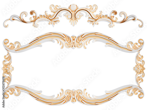 Obraz White ornament with gold patina on a white background. Isolated - fototapety do salonu