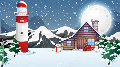 Spoed Foto op Canvas Kids Scene with wooden house in winter