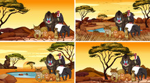 Four Scenes With Animals In Th...