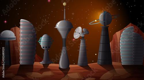 City in space scene