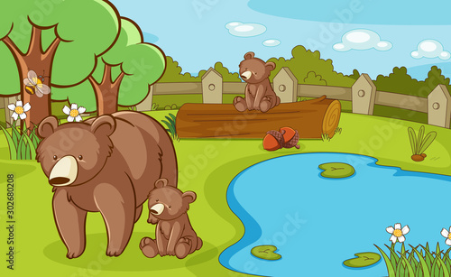 Poster de jardin Jeunes enfants Scene with grizzly bears in the park
