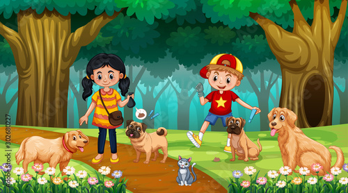 Foto op Plexiglas Kids Children with dogs in wood scene