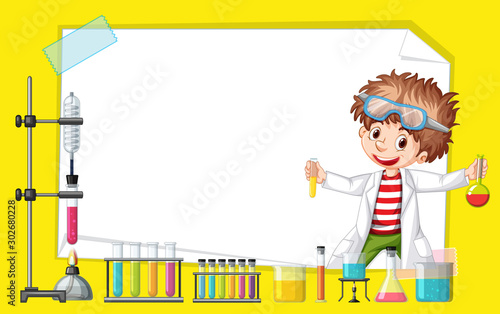 Poster de jardin Jeunes enfants Frame template design with kid in science lab