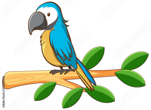 Foto op Plexiglas Kids Blue parrot on the branch