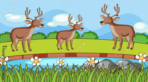 Poster de jardin Jeunes enfants Scene with three deers in the park