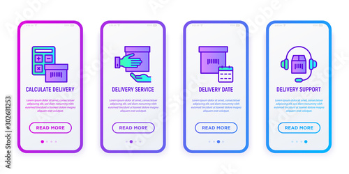 Express delivery mobile user interface with copy space and thin line icons: calculate, calendar date, support service Canvas Print