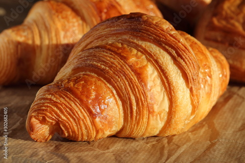 Vászonkép  Freshly backed french croissant shiny in the rays of the morning sun  close up