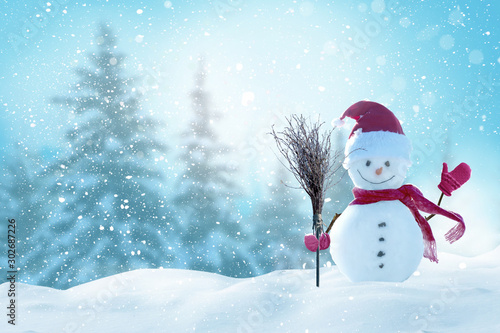 Poster Pool Merry christmas and happy new year greeting card with copy-space.Happy snowman standing in christmas landscape.Snow background.Winter fairytale.