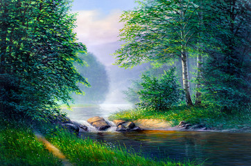 Panel Szklany Malarstwo Oil painting landscape , beautiful river.