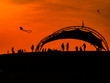 canvas print picture - To fly a kite at sunset
