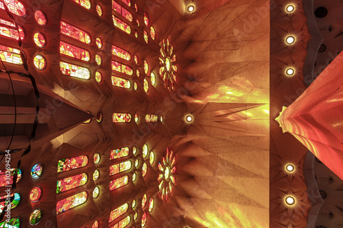 Foto auf Leinwand Altes Gebaude Upward view inside of a church