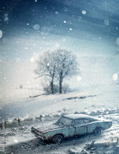 Fotografia  Dodge Charger 1968 sous la neige