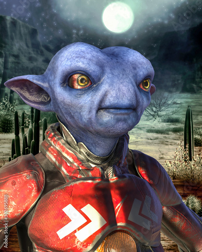 Obraz na plátně  blue alien on mexican desert portrait