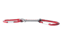 Close-up Of A Single Red Metal Quickdraw Carabiner For Mountain And Sport Climbing, Isolated On White Background.