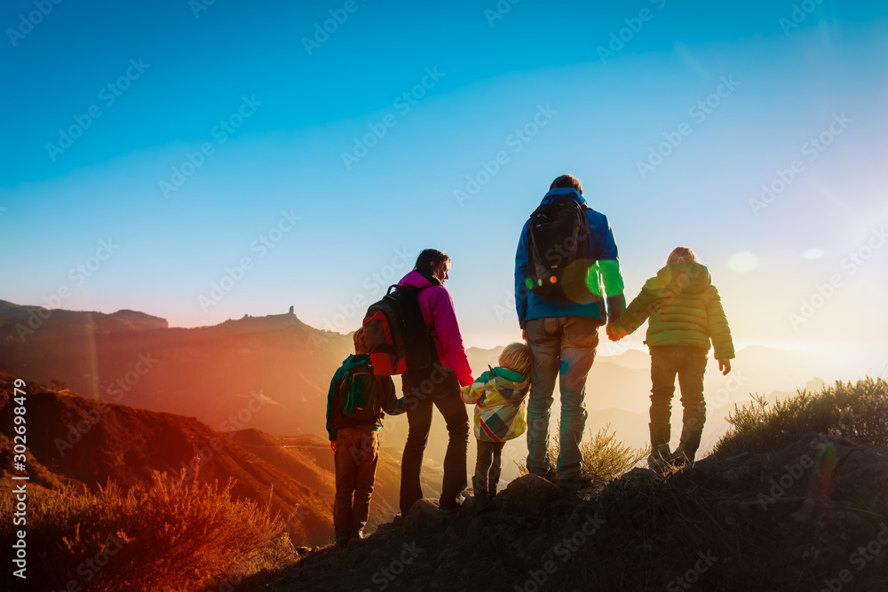 Fototapety, obrazy: family with kids travel in mountains at sunset