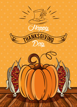 Happy Thanksgiving Day Card With Pumpkin And Corns