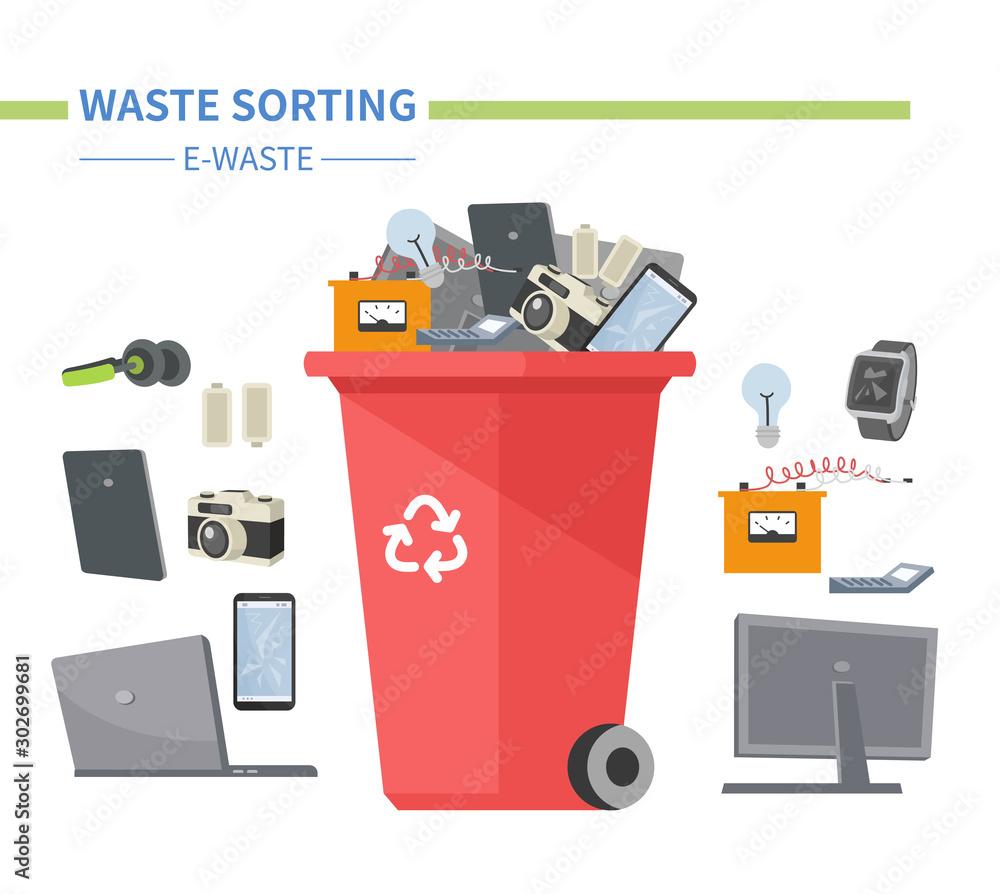 Fototapeta E-waste sorting - modern flat design style illustration