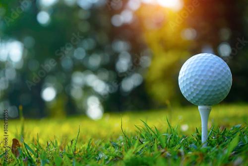 Foto auf AluDibond Grun Blurred golf club and golf ball close up in grass field with sunset. Golf ball close up in golf coures at Thailand
