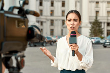 The Whole Truth And Nothing But The Truth. TV Reporter Presenting The News Outdoors. Journalism Industry, Live Streaming Concept.