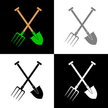 Spade And Pitchfork Vector Icon