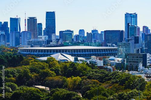 Photo 新国立競技場 国立競技場 風景 日本 東京 オリンピック スタジアム 都市風景 快晴 青空 鳥瞰図