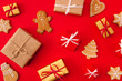 canvas print picture - High angle above view photo of surprise holiday newyear biscuits cookies gifts congrats decor figures sweet x-mas brochure composition isolated bright red background