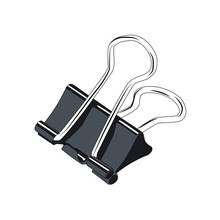 Binder Clip Realistic Vector Illustration Isolated