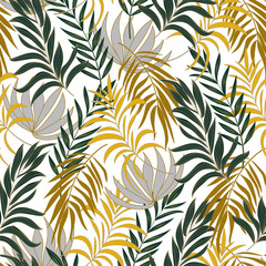 FototapetaSummer seamless tropical pattern with bright green and yellow plants and leaves on white background. Jungle leaf seamless vector floral pattern background. Printing and textiles.
