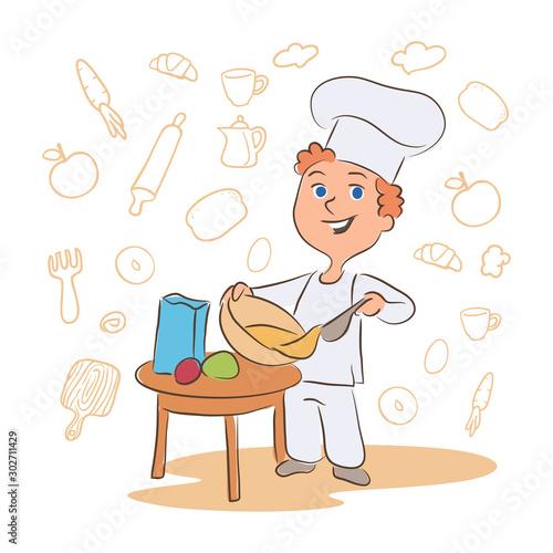 Photo Kid cooking dish cartoon vector character