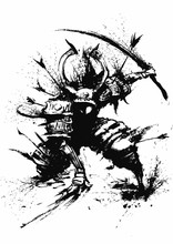 Samurai Wounded Arrows From All Sides, Fell To One Knee, Holding A Sword, Does Not Give Up . 2D Illustration
