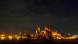 Time-lapse: Petrochemical Industrial. Oil refinery and Oil industry at twilight. 4K Resolution