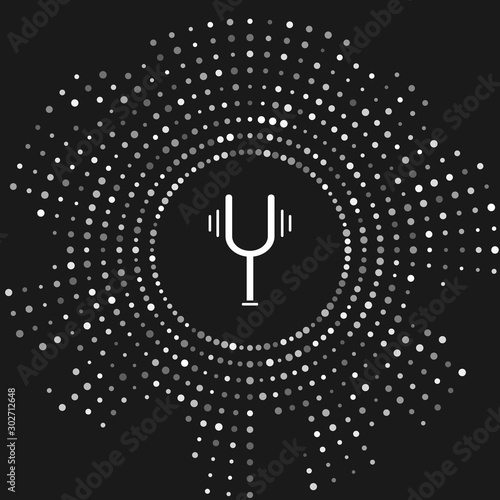 White Musical tuning fork for tuning musical instruments icon isolated on grey background Tapéta, Fotótapéta