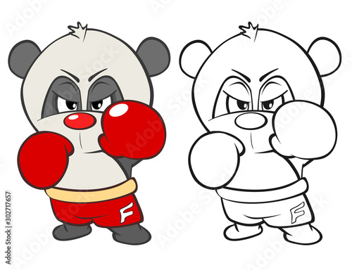 Canvas Prints Baby room Vector Illustration of a Cute Cartoon Character Panda for you Design and Computer Game. Coloring Book Outline Set