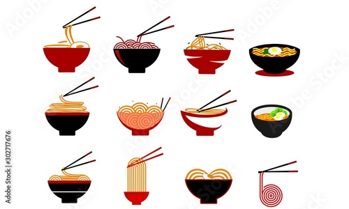 Photo Set of noodle food, noodle bowl logo vector