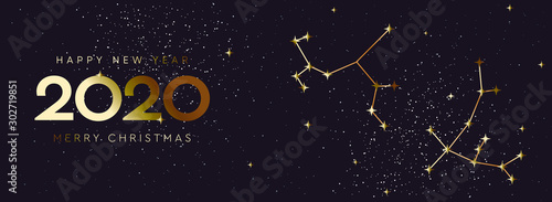 Photo Happy New 2020 Year and Merry Christmas, constellation banner, vector illustration