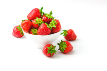 Red Ripe Strawberry In The White Bowl, Light Background