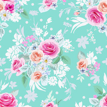 Cute Rose Bouquets With Daisies. Digital Vector Botanical Print For Spring,summer Dress