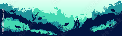 Montage in der Fensternische Reef grun Sea scene with the underwater world. Coral reefs. Tropical sea with water mimicry and its inhabitants. Silhouette of fish and algae. Vector.