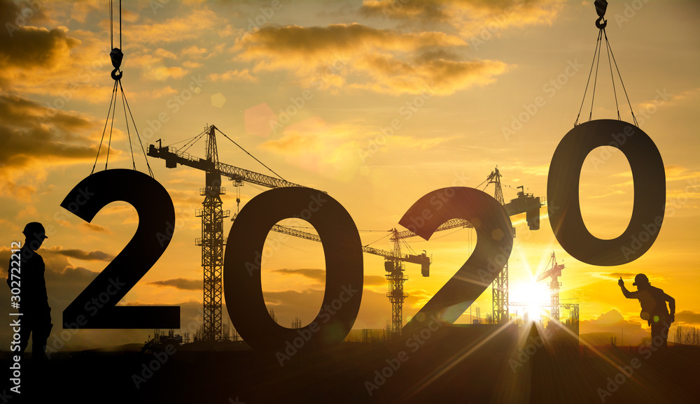 Fototapety, obrazy: Silhouette construction site,Cranes building construction 2020 year sign