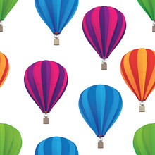 Hot Air Balloon Seamless Repeating Pattern Isolated Vector Illustration