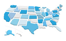 3d Usa Map With Separated States. Vector Illustration