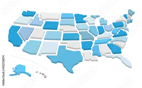 Photo 3d usa map with separated states. Vector illustration
