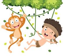 Happy Kid Swinging With Monkey...