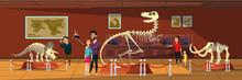 Dinosaur Bones Exhibition Flat Vector Illustration