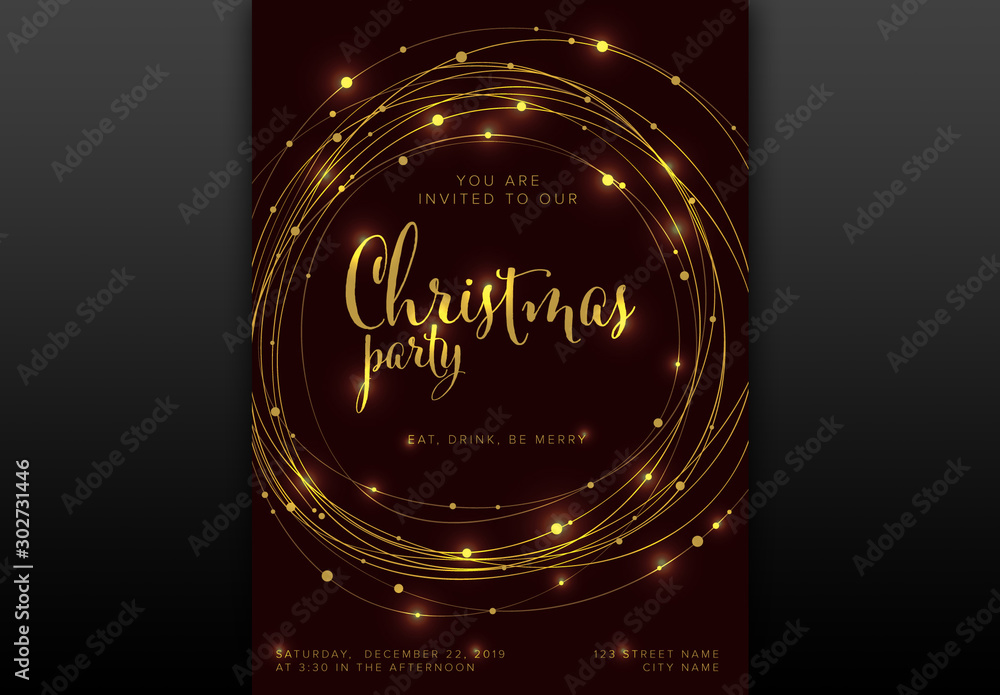 Fototapety, obrazy: Christmas Party Invitation Layout with Light Chains