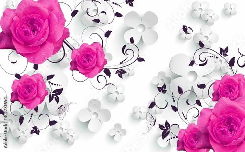 Obraz 3d mural Flowers background with Circles wallpaper for walls . with pink flowers and gray silver background  - fototapety do salonu