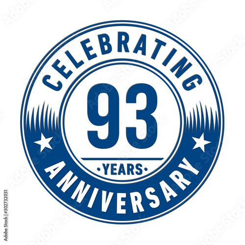 Fototapeta  93 years anniversary celebration logo template