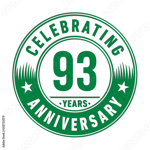 Fotografie, Obraz  93 years anniversary celebration logo template